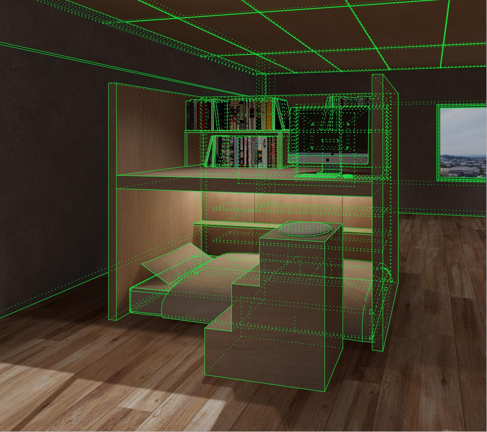 家具を3Dで配置している