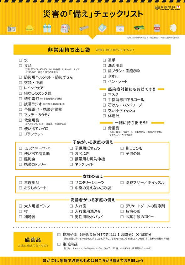 災害の備えチェックリスト